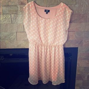 Pink with white polka dot dress